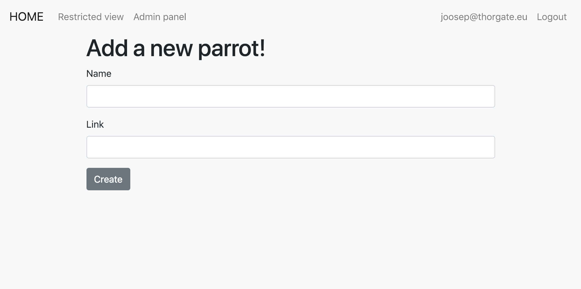 Form for creating a parrot
